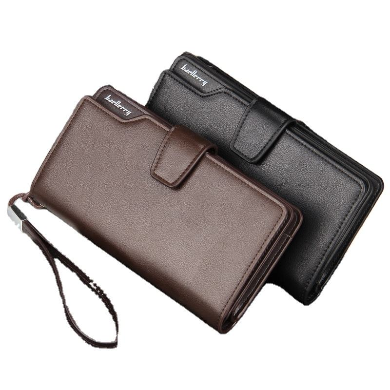 baellerry new long style PU leather wallets,Casual clutch wallets for man, male wallets with handle strap