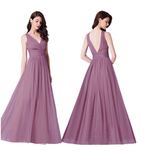 best selling v neck mesh elegant solid plain color sleeveless romantic sister group bridesmaid dresses