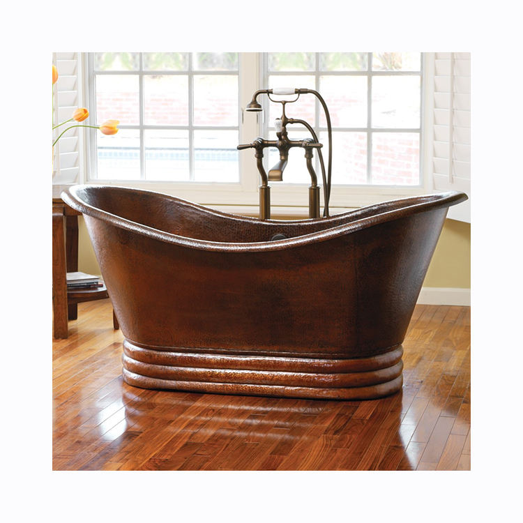 Modern Home Used Hand Made Free Standing Solid Round Cast Iron Copper Bathtub Price