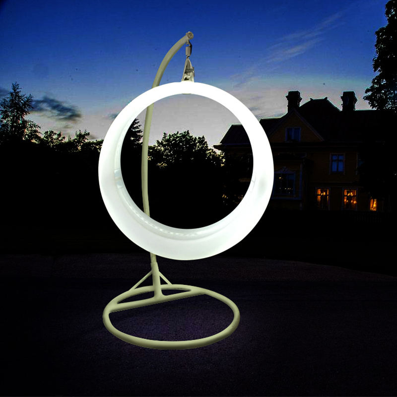 LED Swing glowing round colorful hanging 16 rgb color changing remote control led swing chair outdoor