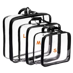 3 set Travel PVC Bags Clear Compression Black Toiletry Makeup Cosmetic PVC Bag
