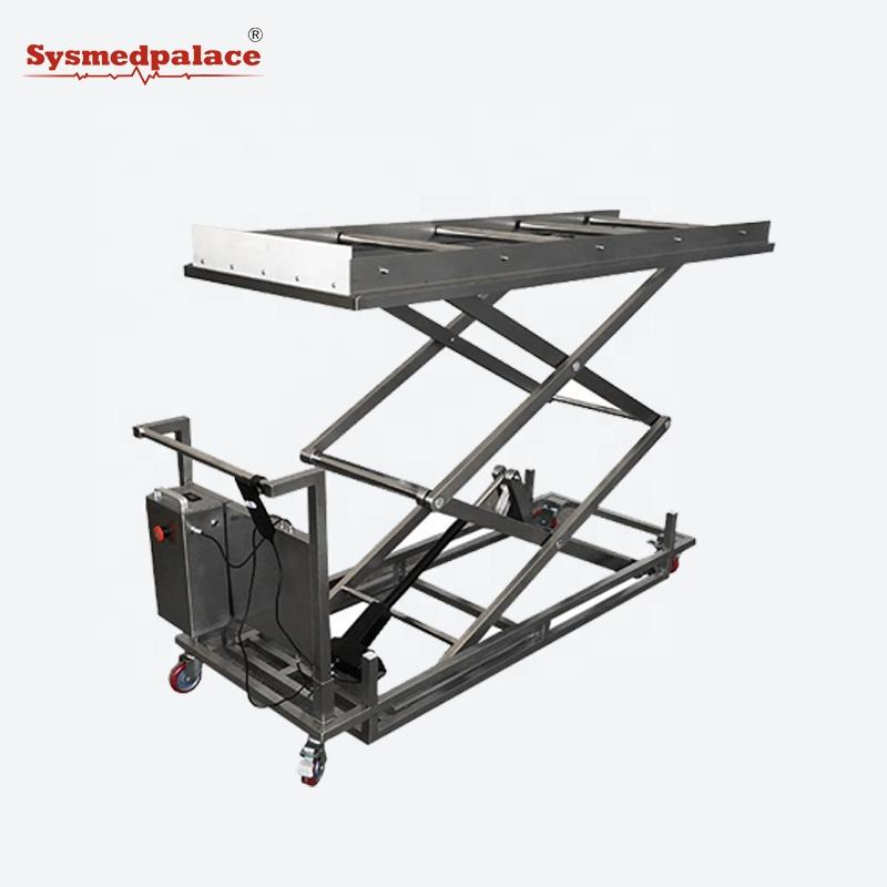 Sysmedical reliable brand electric mortuary lifter trolley corpse trolley in hospital morgue or funeral