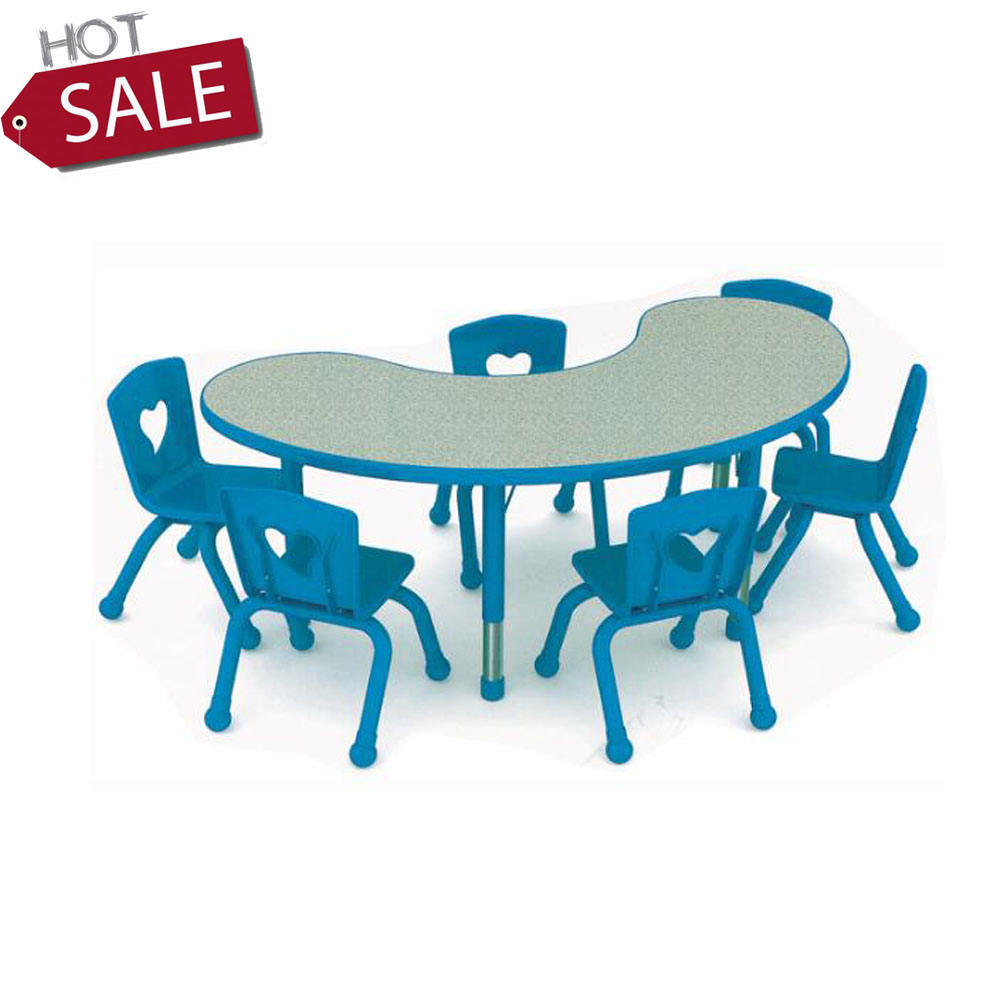 Kindergarten Kids Half Moon Shape Table and Chairs,kids party table and chair