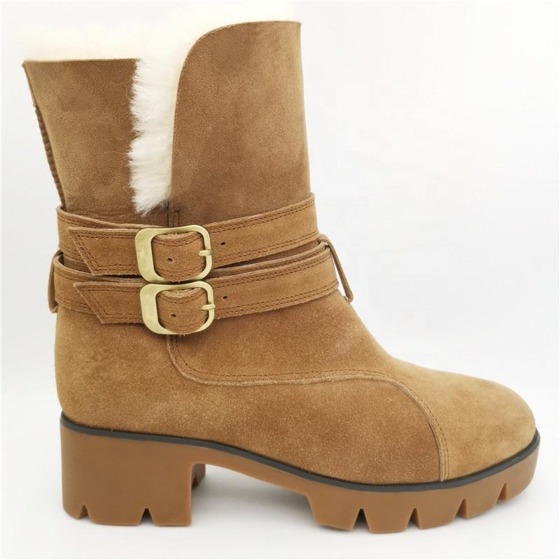 HQB-WS001 Fashionable hot selling genuine sheepskin boots premium quality winter thermal snow boots for women