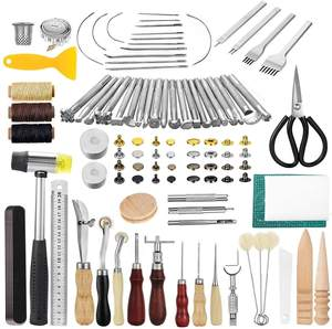 195PCS Leather Working Craft Stamping Tools with Cutting Mat Snaps and Rivets Kit Stitching Groover, Prong Punch for DIY Leather