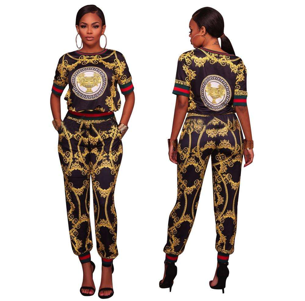 Wholesale Aumunm Spring Print Women Long Pants Lady Casual Pants Set Two Piece Set Outfits Women