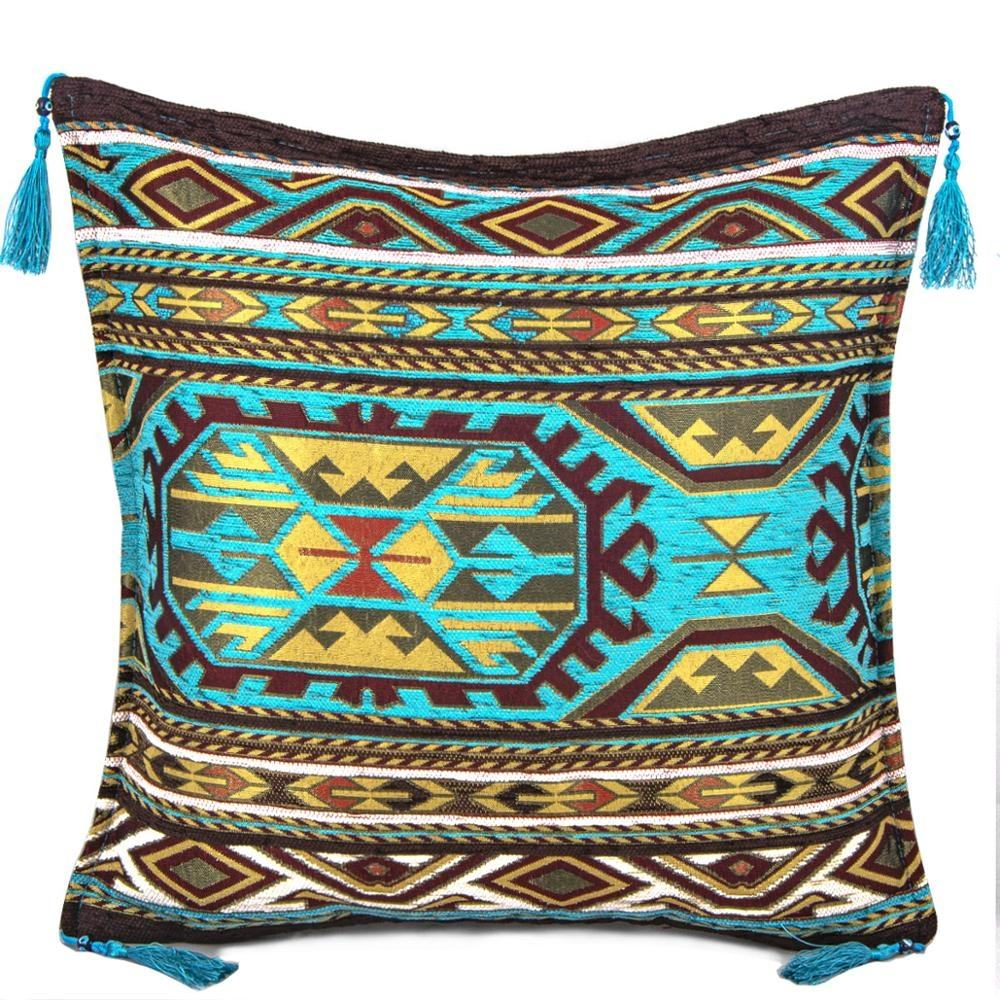 Blue - Brown Kilim Designed Turquoise Turkish Chenille Fabric Cushion Cover Pillow