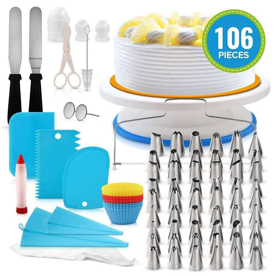 BPA Free Non-stick Reusable 106pcs Cake Decorating Tools for Cupcake Cookies Birthday Party Cake Stand Set