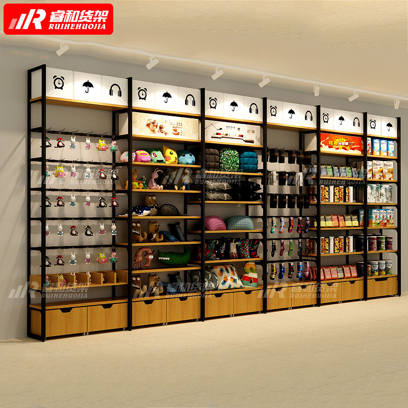 Hot sale RUIHE 1 dollar store stationary store shelving wall steel wood supermarket+shelves miniso displays rack display stand