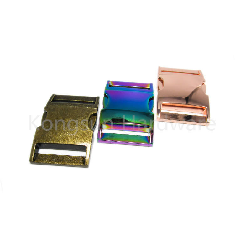 1 inch 20mm 15mm Metal Zinc Alloy Quick Release Side Buckle Shiny Gold For Leather Diy Pet Collar