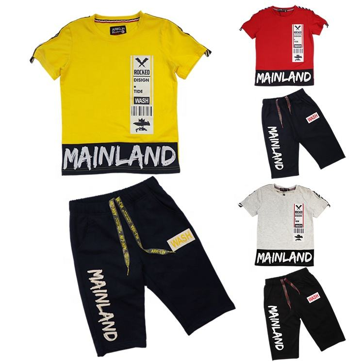 High quality Exclusive factory R & D good wholesale boys' short sleeve T-shirt little boys summer clothing set with Capris