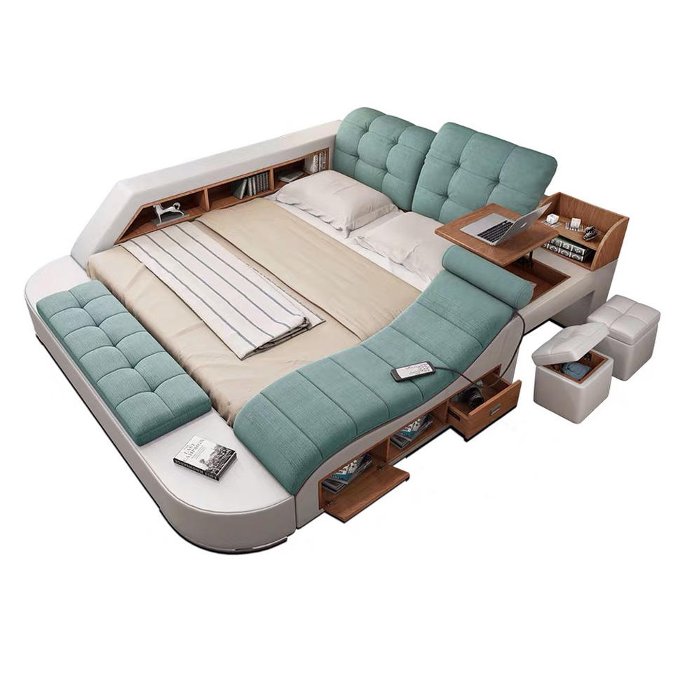 Customizable multifunction storage bed with massage music design of leather bed solid wood frame tatami factory wholesale bed