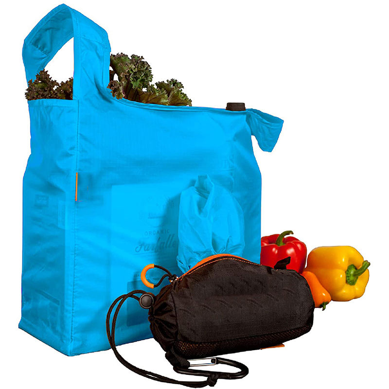 Reusable Shopping Bags Includes 5 Foldable Bags Inside a Compact Pod with Carry Clip Super Strong Nylon Reusable Shopping Bags