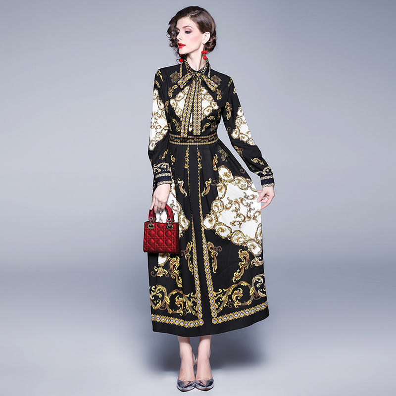 New autumn women pleated dress long sleeve stand collar belt palace print vintage party dress