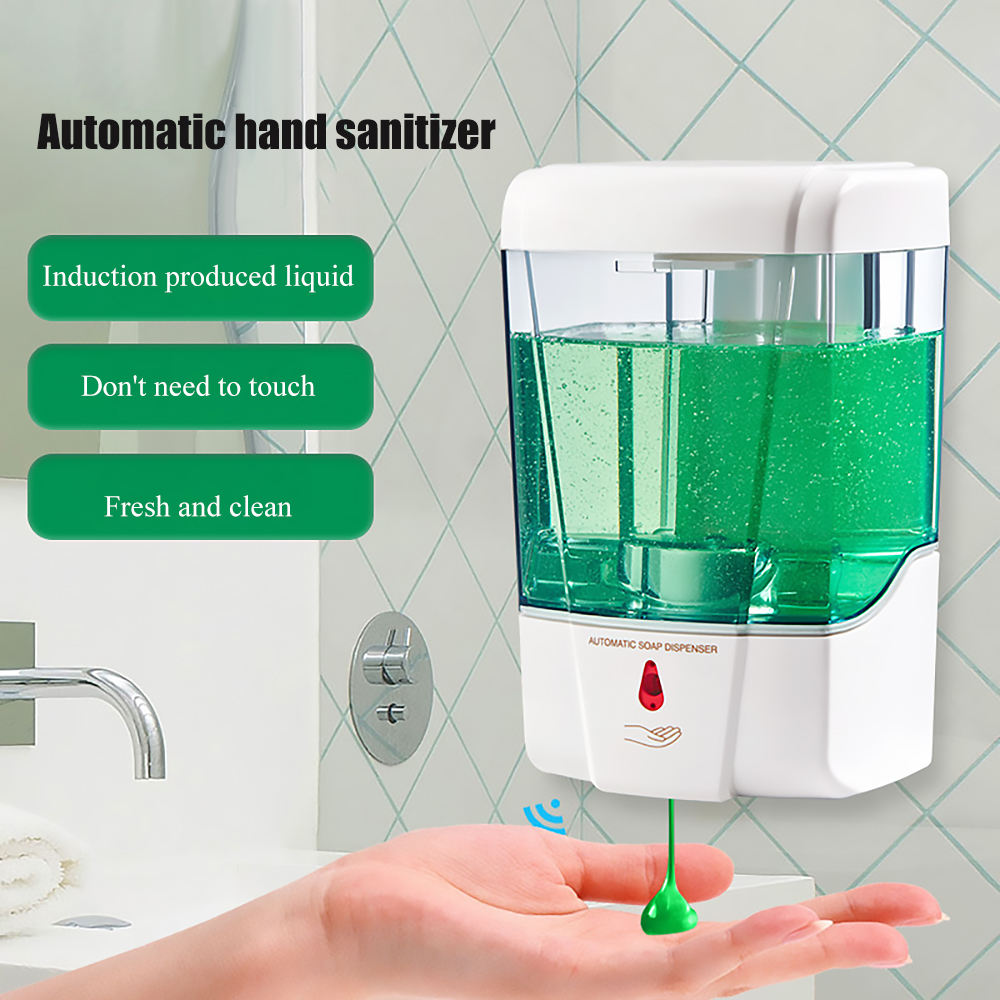 600ml Soap Automatic Smart IR Sensor Induction Wall-Mount Hand Sanitizer Pump Detergent Dispenser for Kitchen Bathroom
