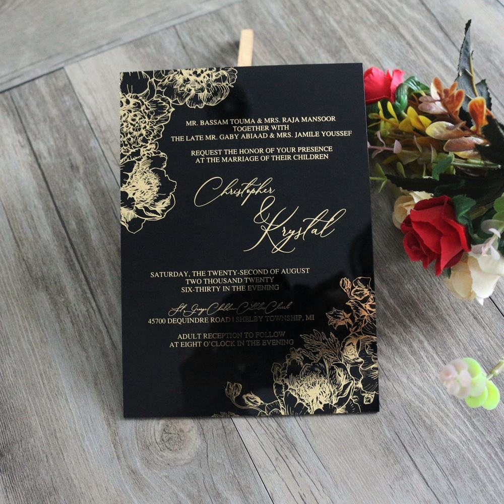Elegant Black Acrylic Wedding Invitation Card With Envelopes
