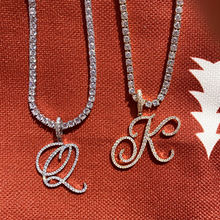 NEW Fashion Personalized Cursive Letters A-Z Pendant& Necklace Hip Hop Cubic Zircon Charm jewelry for Men Women Gifts