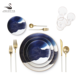 chinaware brands Blue Bone China Gold Rim Dinner Plates Set for Wedding