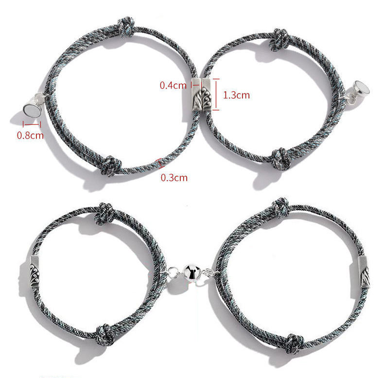 Wholesale 2 Pc Set Magnetic Couple Bracelets Lovers Friendship Rope Braided Bracelets