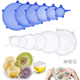 LFGB reusable can food storage flexible saver cover lid set suction silicone stretch lids of 6 pack