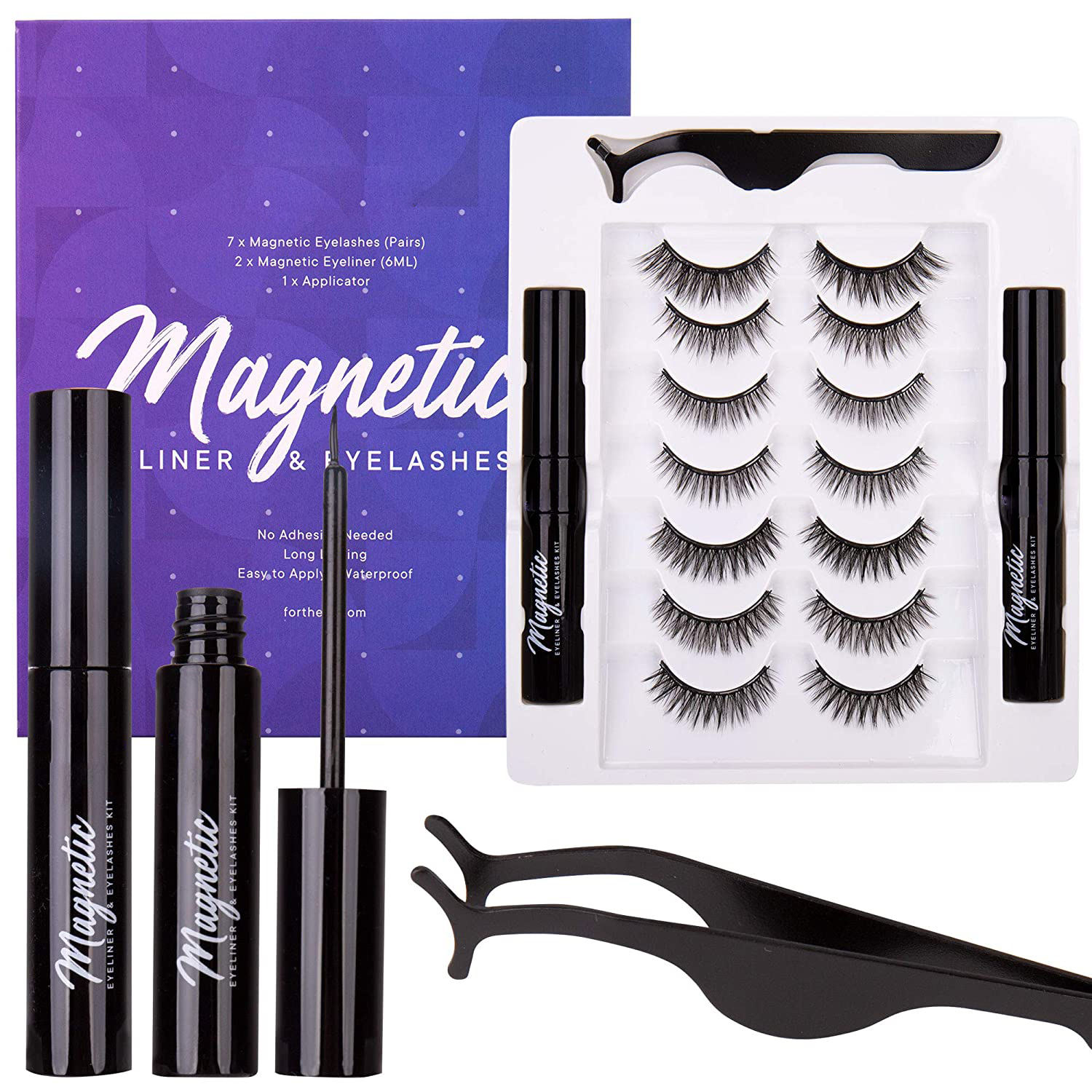 2020 newest magnetic eyelashes and eyeliner with tweezers false eyelashes 3d mink eye lash kit