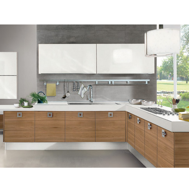 Various models wood veneer modern kitchen cabinets