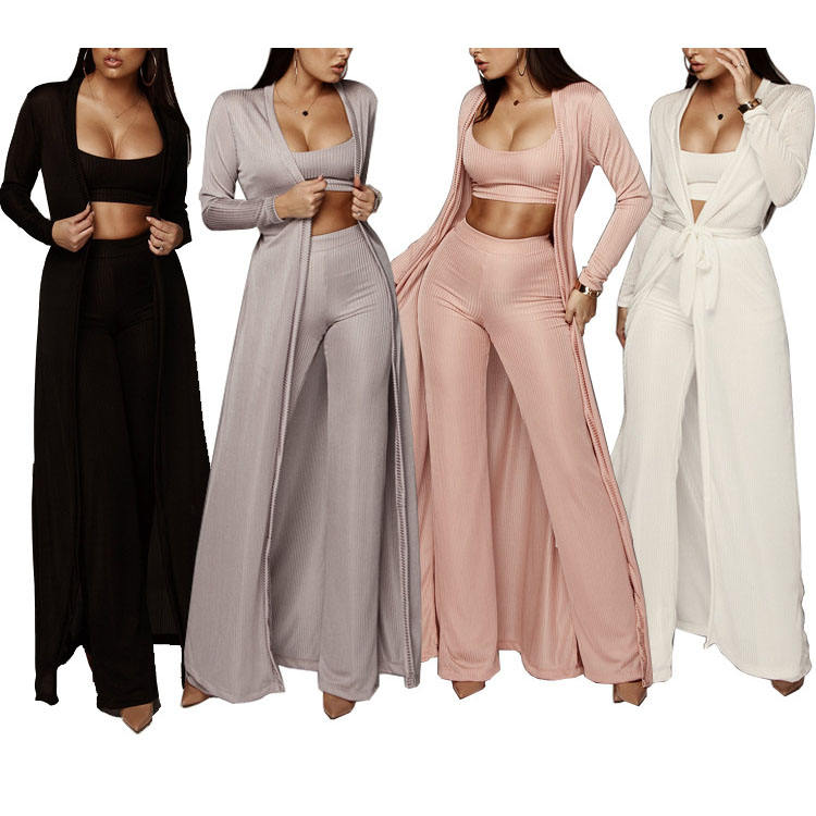 3 pieces ladies casual suit crop top clothes women pants sets