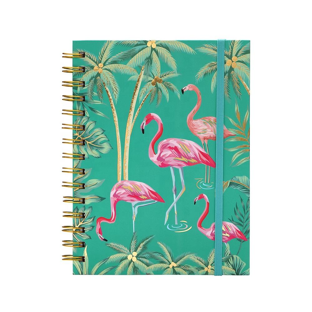 Custom Printed Logo Girls Diary Note Book Fancy Flamingo Pocket Hard Cover A5 Spiral Journals Notebooks