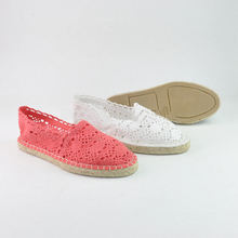 Casual shoes espadrilles jute TPR outsole ladies white crochet upper soft comfort bridal wedding trendy flats shoes