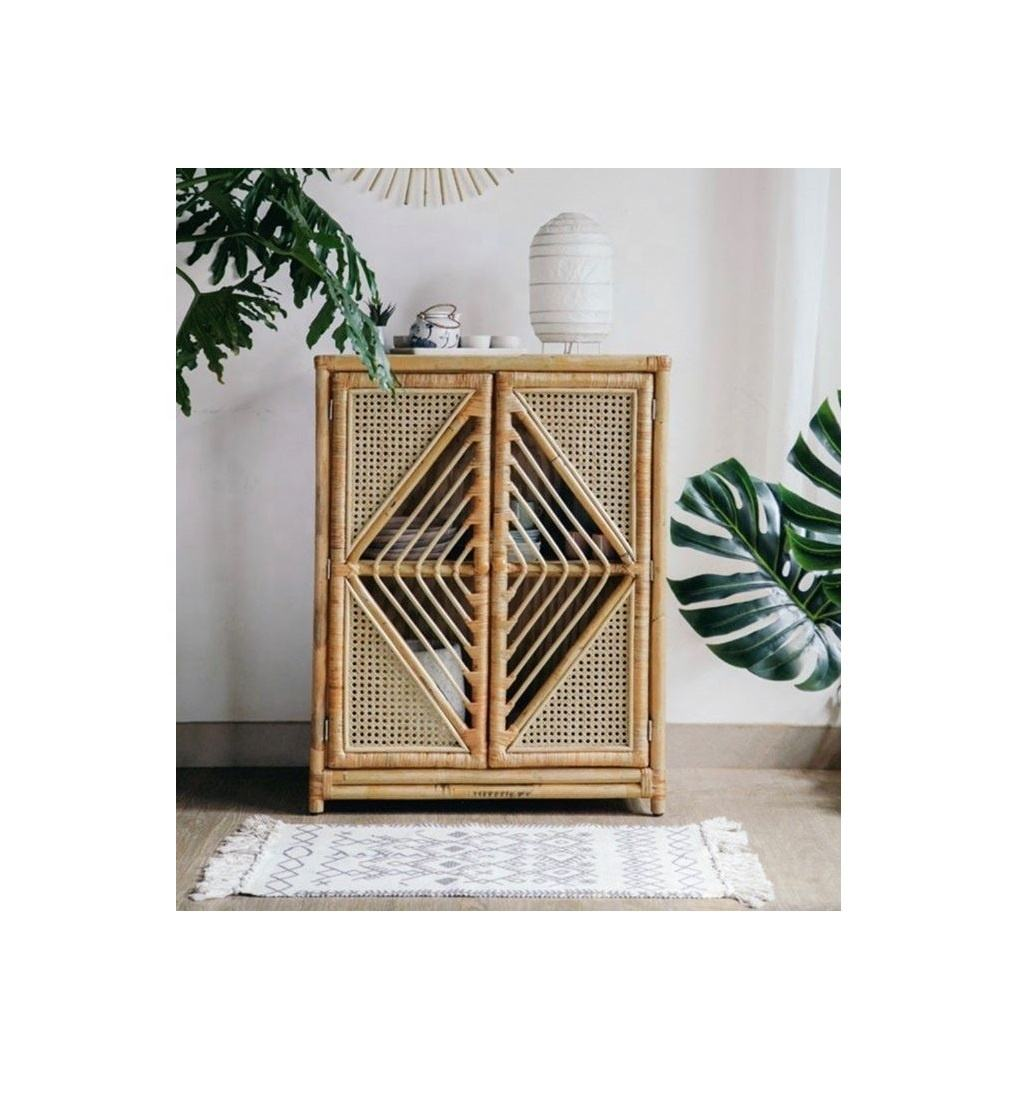 Natural rattan cabinet - Natural Rattan Arch Cabinet with Shelves - Two door rattan cabinet