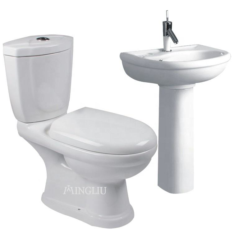 Cheap Africa wc p-trap nigeria twyford toilet two piece water closet ceramic toilet bowl set price