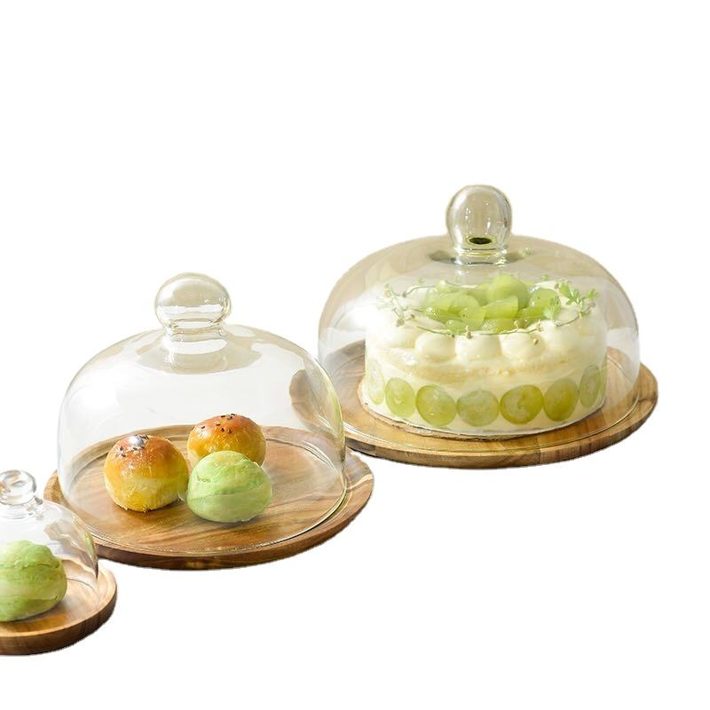Wedding party high tea round wooden dessert cupcake display glass cover wood cake stand with dome