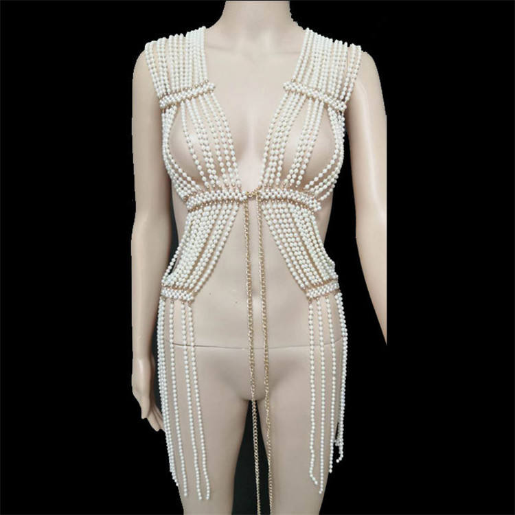 custom design pearl body chain jewelry luxury body chain dress