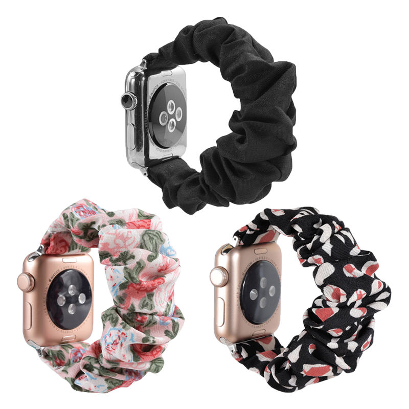 Hot Selling Scrunchie Elastic Watch Band Women Girl Replacement Watch Strap Bracelet For Apple Watch Band