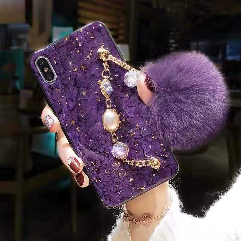 Fur Ball Soft Rubber Bumper Bling Diamond Glitter Cell Phone Case with Wrist Strap For iphone 11