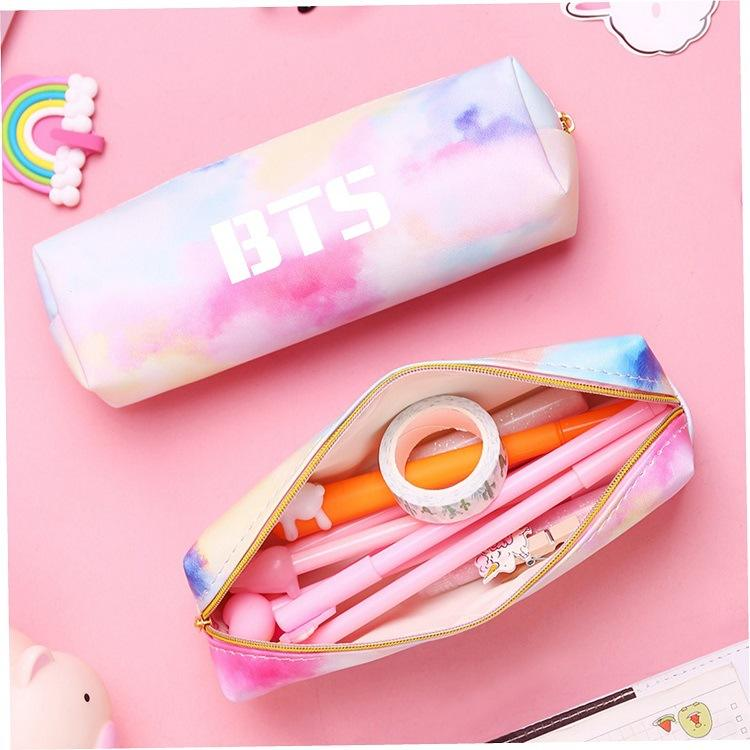BTS Pencil Case Stationery Storage Bag Soft PU Leather ZipperPencil Case