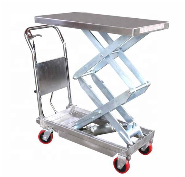 Partial Stainless Steel Double Scissor Hydraulic Lift Table With Foot Pump