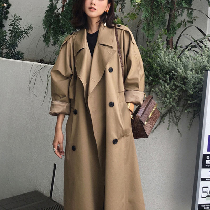 Good quality ladies windproof jacket with belt oversized windbreaker spring coats long trench coat plus size coats