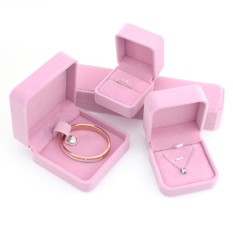 Sundo factory price luxury blue pink velvet jewelry box with logo for ring earring necklace bracelet bangle gift packaging
