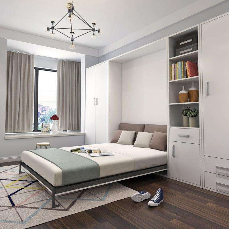 Customized Modern Wall Bed And Sofa Bedroom Furniture Clothes Wardrobe MDF Wooden Wardrobe