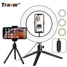 Travor RL-10 led selfie ring fill light 10 inch for YouTube with 45cm tripod stand and cell phone holder