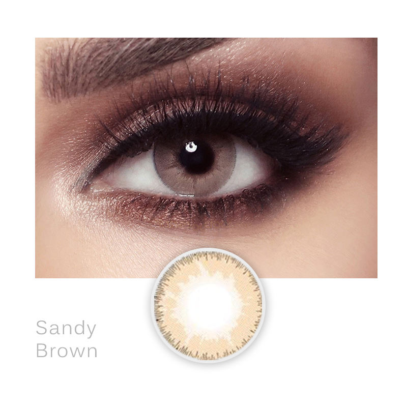 private label doll eye color 3 tone light brown contact lenses plain color