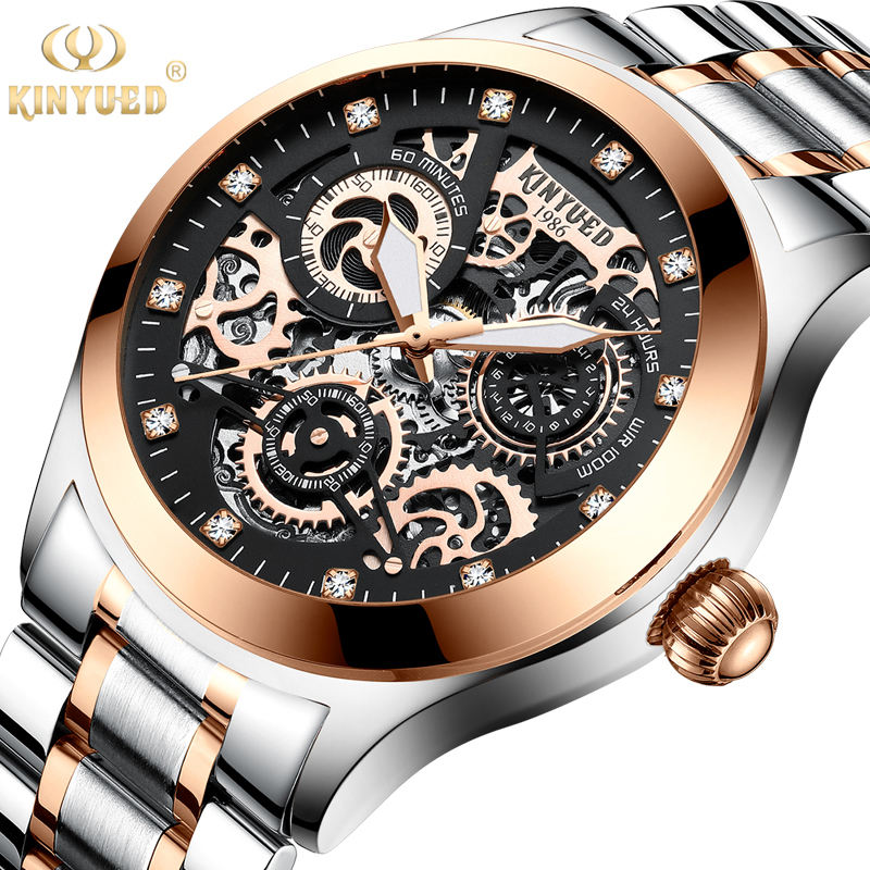 KINYUED J062 oem waterproof custom logo leather fashion tourbillon skeleton wristwatches luxury automatic watches men watches