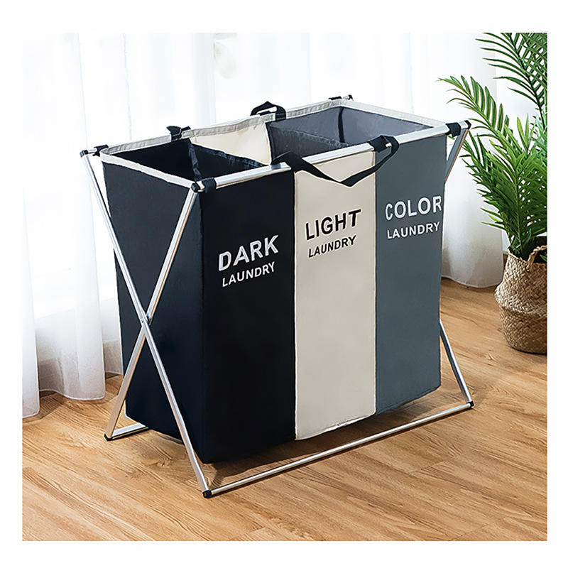 HOMEST 3 Sections Laundry Hamper Basket with Aluminum Frame Durable Dirty Clothes Bag for Bathroom Bedroom Home