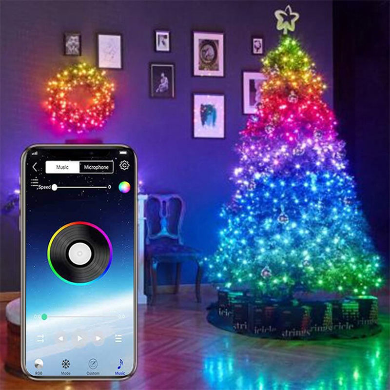 Christmas Tree Decoration Lights Custom LED String Lights App Remote Control Fairy Light