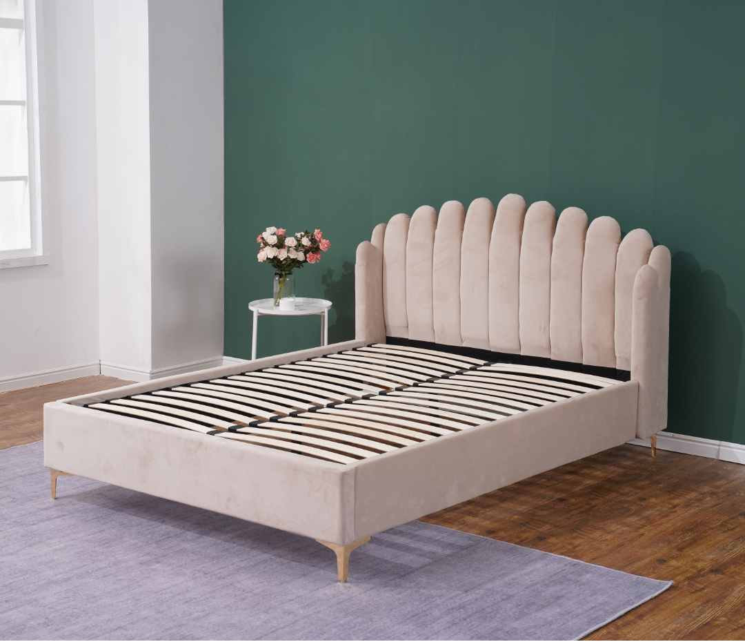 Fabric bed with button for good selling now bedroom furniture
