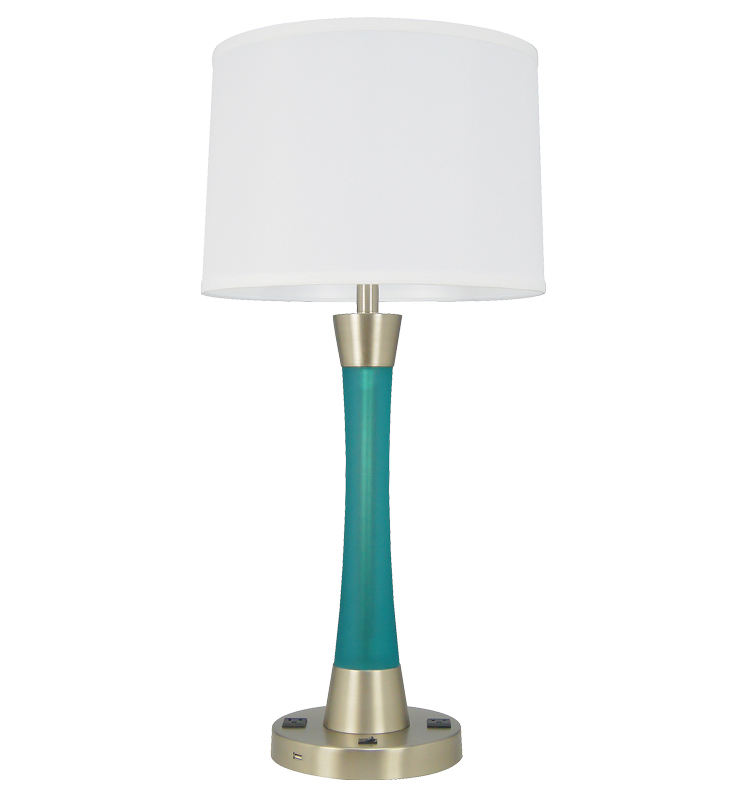 Modern Slim Table Lamp, Blue Resin Hotel Bedroom Reading Lamps mit USB & Outlet Brushed Nickel Desk Lamp mit Fabric Shade