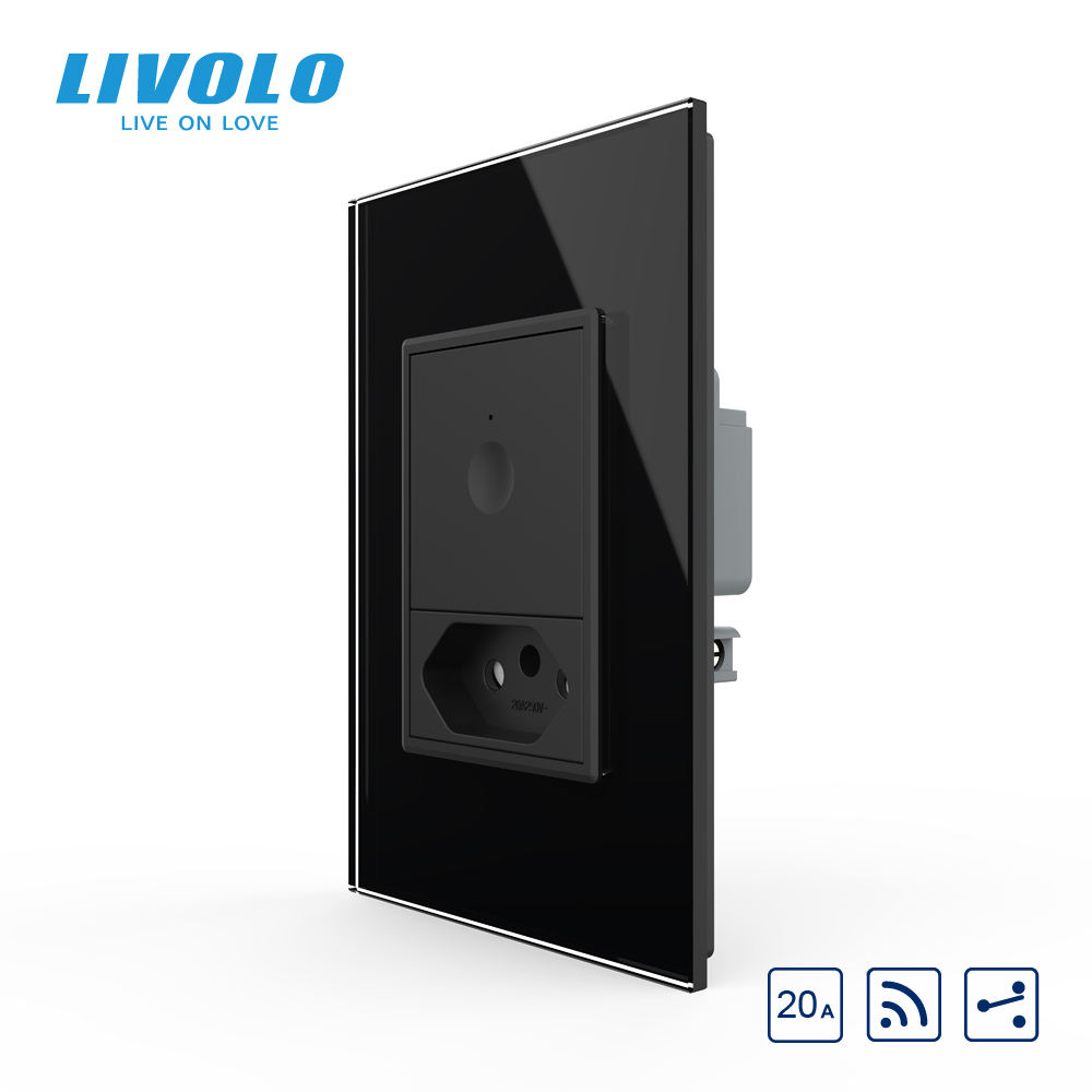 Livolo 1 Gang 2 Arah Remote Control Relay Lampu Switch dengan 20A Brazil Socket