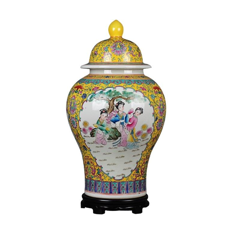 china supplier jingdezhen color glazed yellow antique chinoiserie personage chinese vase