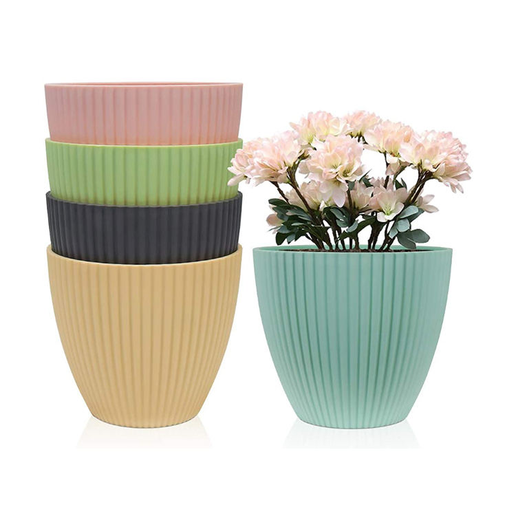 "YICAI 4"" Modern Plastic Planters Indoor Flower Plant Pots Gardening Containers for All House Plants Seeding Nursery"